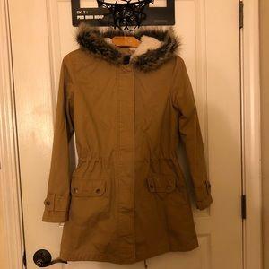 Cozy contemporary faux fur utility jacket!